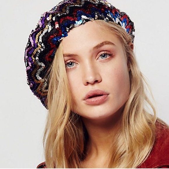 ec63e31693a08 Accessories - Free People sequin beret hat